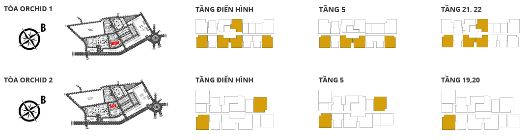 Vị trí các tòa tháp, các tầng có căn hộ 2 phòng ngủ DT: 98,56m2