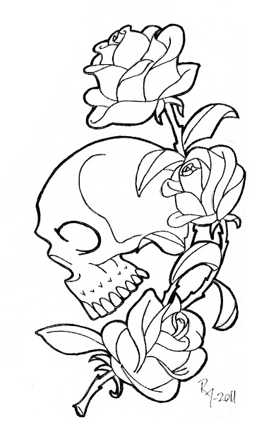 Skull And Rose Coloring Pages Printable Coloring Pages Roses