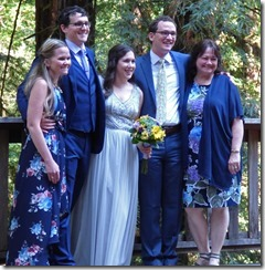 Michael, Anna, Michael's mom Shelley with brother Ryan and Sister Stephanie -- Michael and Anna, Wedding Day, Camp Meeker California, July 21, 2018