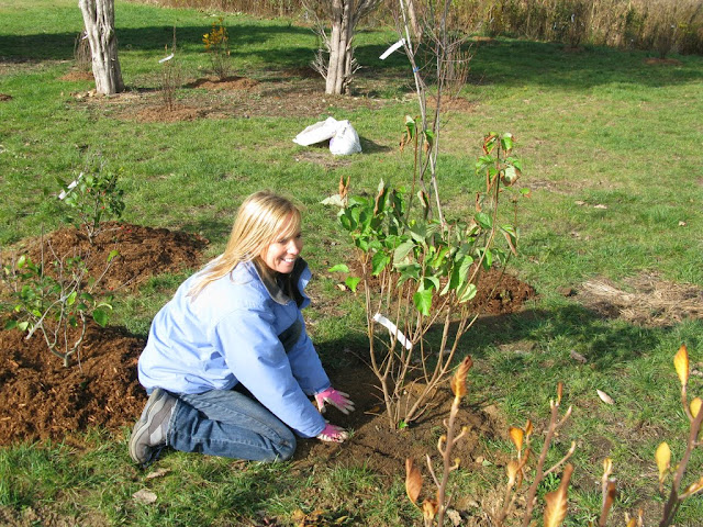 Shannon Schiesser coordinated ordering the plants and mulch. And she got her gloves dirty!