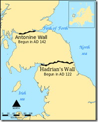 Map showing the Antonine Wall & Hadrians Wall