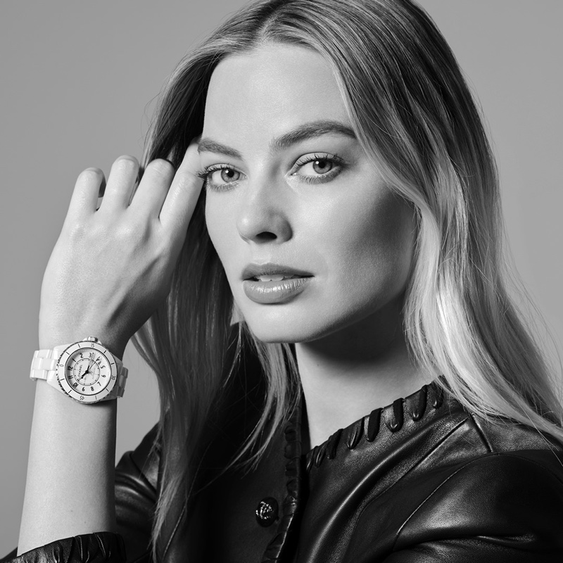 Actress Margot Robbie poses in Chanel J12 Watch campaign.