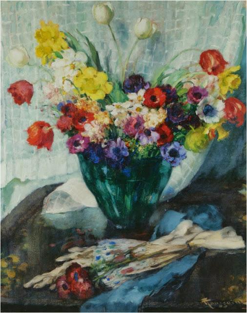 Fernand Toussaint - Vase de Fleurs et Rideau Blanc