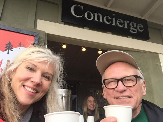 Barbie and Rene celebrating the conclusion of Mobile Communication Boot Camp 2015 with a hot apple cider.