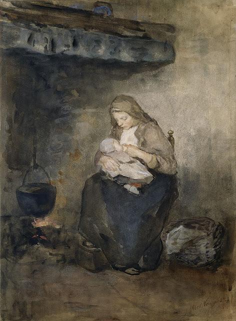Albert Neuhuys - Moeder zoogt haar kind bij de haard
