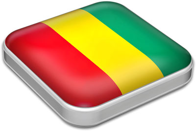 Flag of Guinea with metallic square frame