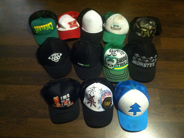 e221a96cb24 This is just a handful of the headwear that I own. I have loved trucker hats  before Ashton kutcher made them cool.
