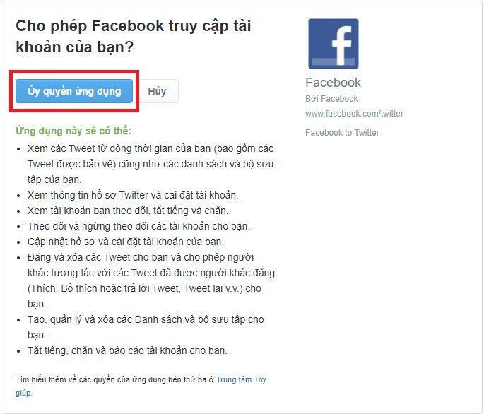 Cho phép Facebook truy cập tài khoản Twitter của bạn?