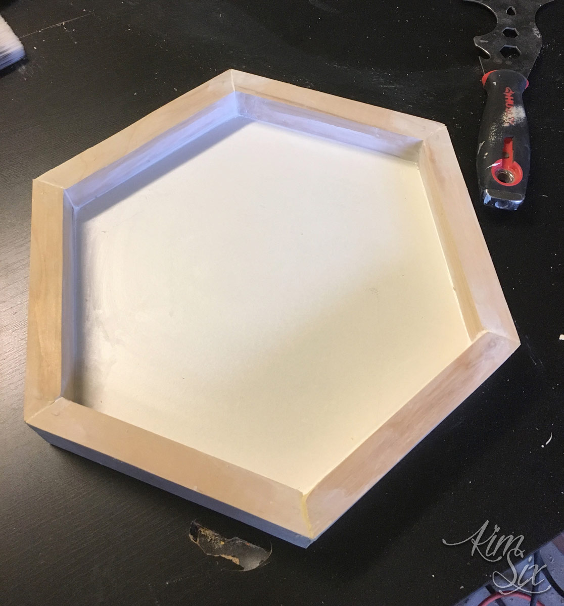 Wooden hexagon tray diy