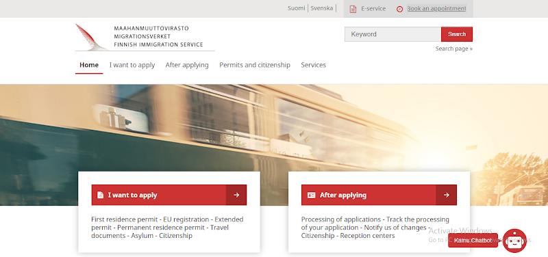 フィンランド移民局のオフィシャルサイト