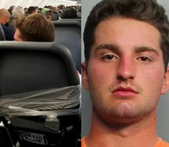 Passenger taped to plane seat after groping two flight attendants' breast mid-flight