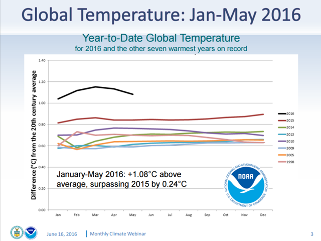 The year-to-date global temperature, Jan-May 2016. The January to May global average surface temperature was 1.08°C above the average, surpassing 201 by 0.24°C. Graphic: NOAA