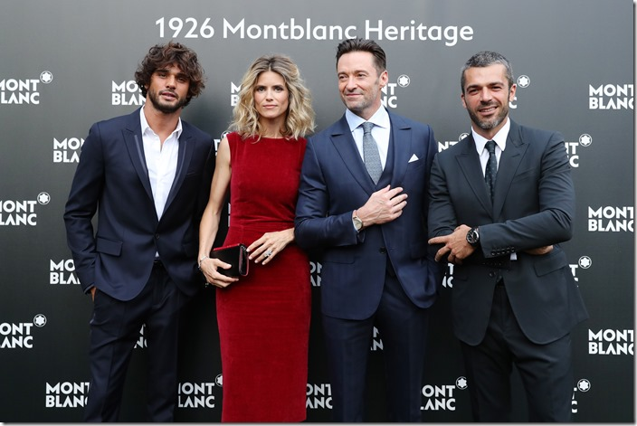 FLORENCE, ITALY - JUNE 14:  (L-R) Marlon Luiz Teixeira, Alice Taglioni, Hugh Jackman and Luca Argentero attend the  '1926 Montblanc Heritage Launch event' on June 14, 2017 in Florence, Italy.  (Photo by Vittorio Zunino Celotto/Getty Images for Montblanc)