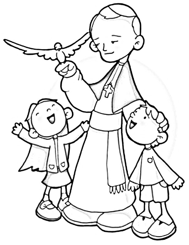 Saint pope John Paul II coloring pages