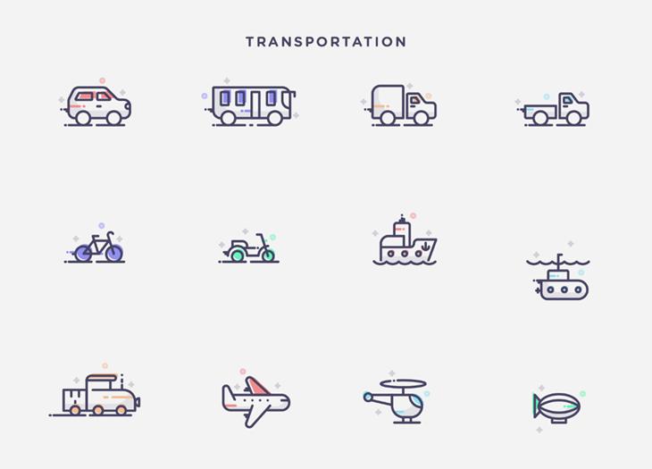 Paquetes de íconos con elementos de la vida cotidiana