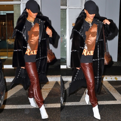 Rihanna in What Goes Around Comes Around's Vintage Dolce & Gabbana Coat