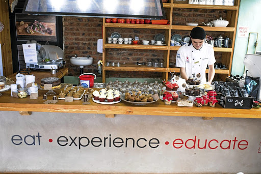 The Jackie Cameron School of Food and Wine outlet crammed with edibles created by her students.