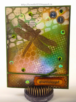 Linda Vich Creates: Tim Holtz Meets Birthday Girl. A Tim Holtz-style card showcasing layered stencils, embossing, resist, and distress inks.