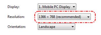 Resolusi layar pada Windows 7
