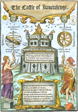 Woodcut Title Page From Robert Recorde The Castle Of Knowledge 1556, Emblems Related To Alchemy
