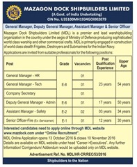 MDL Online Recruitment 2016-17 www.indgovtjobs.in