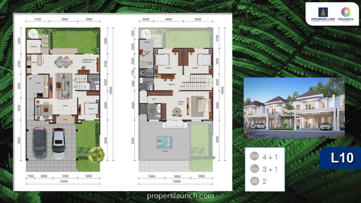 Denah Rumah Pasadena Residences TIpe 10 Standard