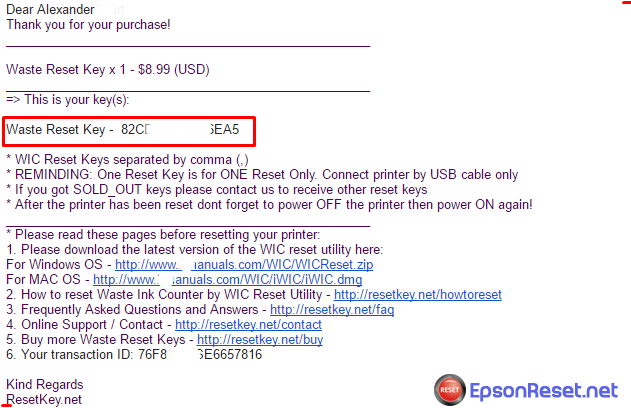 Epson XP-400 reset key email received