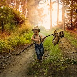 Little traveler  by Piotr Owczarzak - Babies & Children Children Candids ( summer, children, forest, travel, boy )
