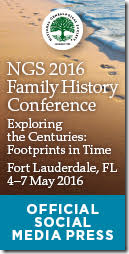 The Ancestry Insider is a member of the Official Social Media Press for the NGS 2016 Family History Conference.