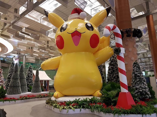 Pikachu says Merry Christmas from Changi Airport