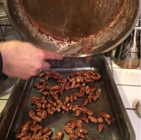 cooling and separating almonds