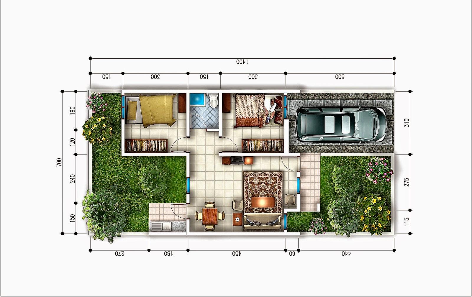 denah rumah asri gallery taman minimalis