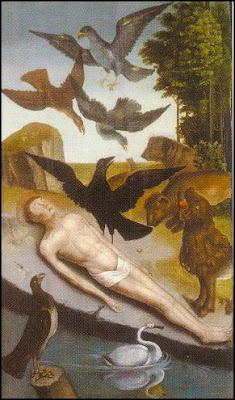 El cuerpo yacente del mártir San Vicente defendido por un cuervo