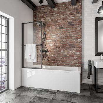Pare-baignoire avec porte-serviette, 1 volet, profilé noir, 70 x 140 cm