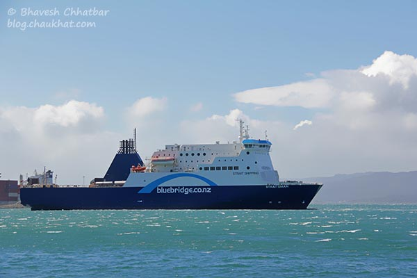 A Cook Strait ship at the Wellington Harbour, photographed at Frank Kitts Park at Wellington [New Zealand]