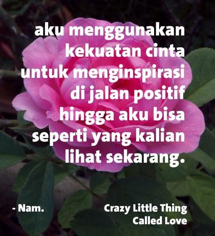 aku menggunakan kekuatan cinta untuk menginspirasi di jalan positif hingga aku bisa seperti yang kalian lihat sekarang, nam, crazy little thing called love quote
