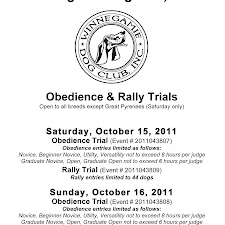 October 2011 Obedience/Rally Trial
