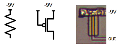 In PMOS, a pull-down resistor (left) is implemented with a transistor (center). The photo on the right shows an actual pull-down in the 8008 microprocessor.