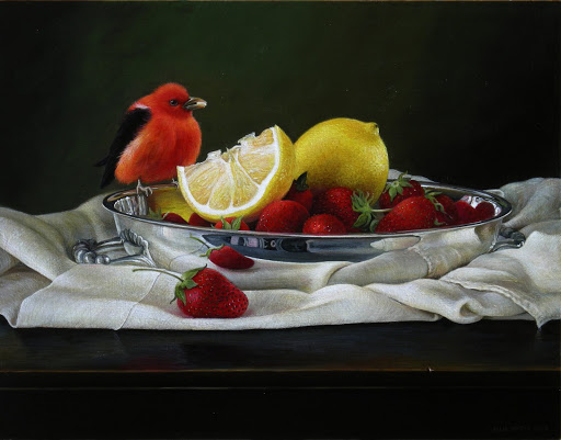 Still Life with Scarlet Tanager. Artist Leslie Watts