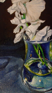 Daily Painting, close up of oil painting of white sweet peas in a vase