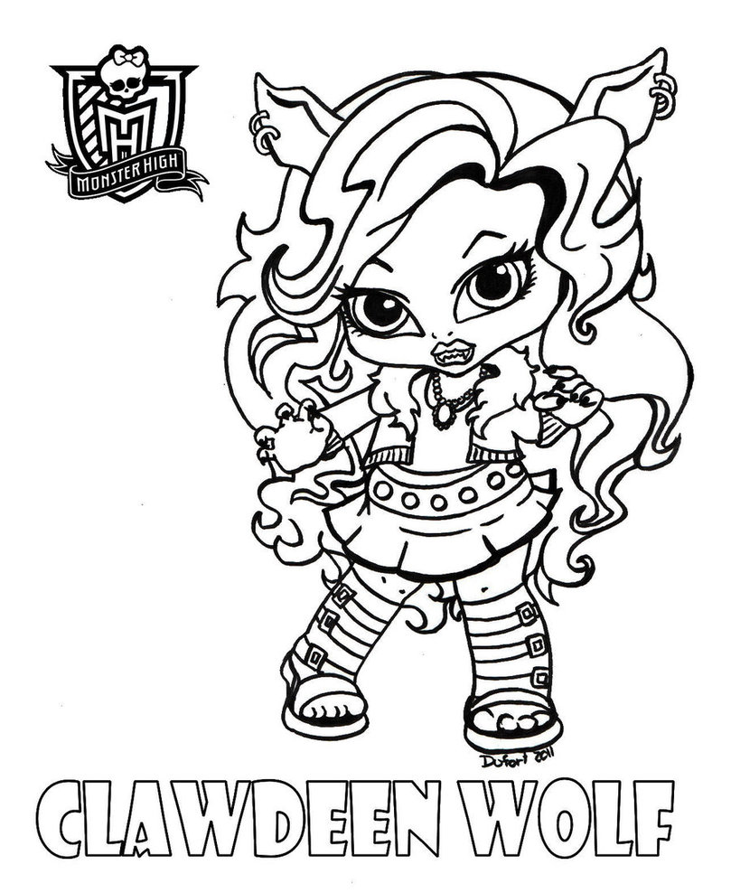 baby clawdeen free colouring pages