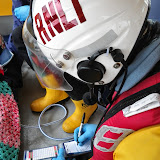 Crew Member Rob Inett filling in the casualty check cards during a training exercise - 22 April 2014 Photo: RNLI Poole/Anne Millman
