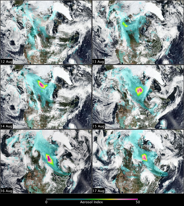 The Ozone Mapping and Profiler Suite (OMPS) aboard the Suomi satellite recorded the largest aerosol index values ever seen since TOMS measurements started in 1978 for smoke over Canada, 12 August 2017 - 17 August 2017. Here's what it looked like from VIIRS and with the OMPS Aerosol Index overlaid. Graphic: NASA / OMPS Science Team