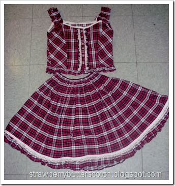 Cute Plaid Ruffled Top and Skirt
