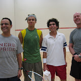 The pros pose for a photo for Maugus Club players.  Featured here are Tamer Shaaban, Mohammed El Sherbini, Mohammed Nabil, and Maugus Club President Dave Heather