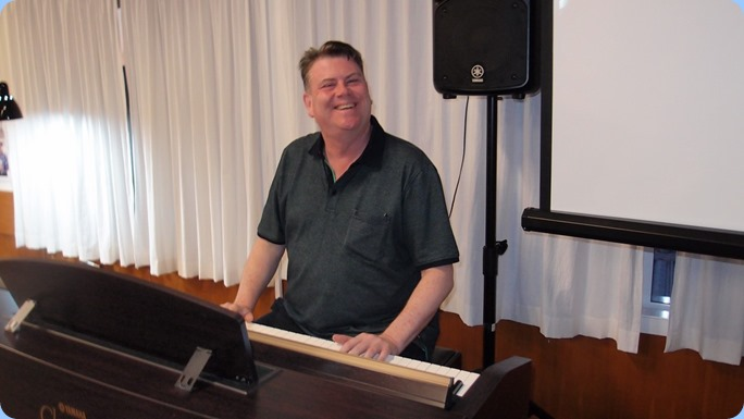 Our guest artist, Chris Larking, played our Yamaha Clavinova CVP-509 magnificently. Chris makes the hard look easy! Photo courtesy of Dennis Lyons.