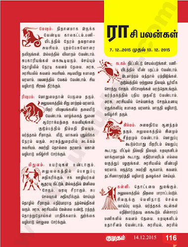 Rasi Palan from Kumudam Weekly for the Period November 30 to December-6, 2015