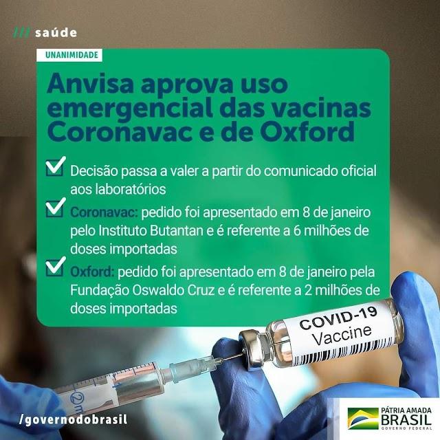 Anvisa aprova por unanimidade uso emergencial das vacinas