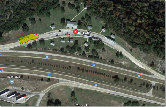 Google Map, Satellite view, Kerryville Texas  Rest Area