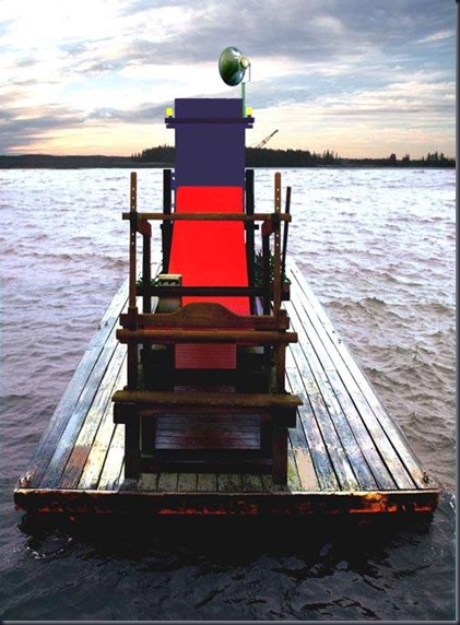 Nikos Charalambidis, Rietveld's Red Blue Chair blocked in a traditional loom [2006]